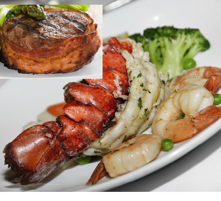 Corporate Surf and Turf Gift Package (2) 5-6 oz Cold Water Lobster Tails - (2) 5-8 oz USDA Choice Angus Bacon Wrapped Filet Mignon- (1 lb) 26-30 ct U.S.A ...
