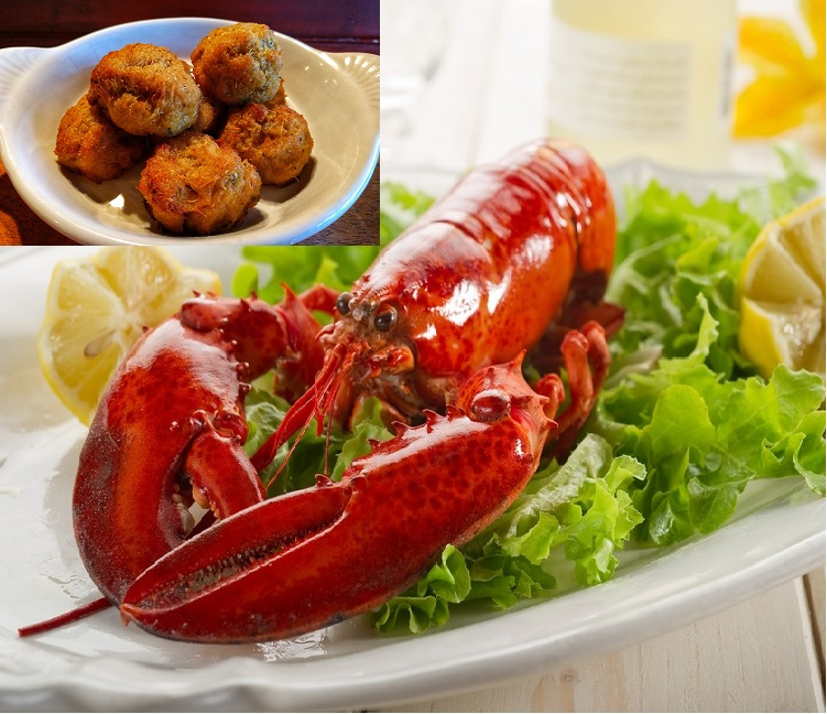 Gift Package B (2) 1-1.15 Lb Frozen Whole Maine Lobsters-(20) 1 oz Lump Frozen Mini Crab Balls- (2 lbs) Frozen Prince Edward Island Canadian Blue Mussels